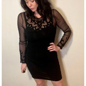 Bodycon Dress with sheer patterned mesh top